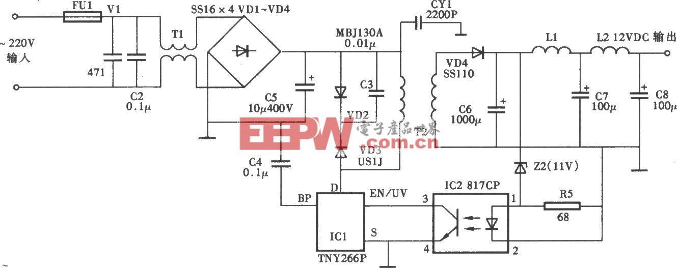 6W 12VDC电源适配器电路