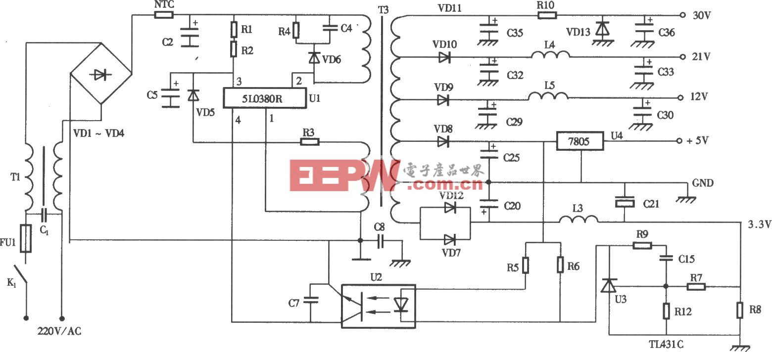 海克成HIC-2000HDVB型数字卫星电视接收机电源电路