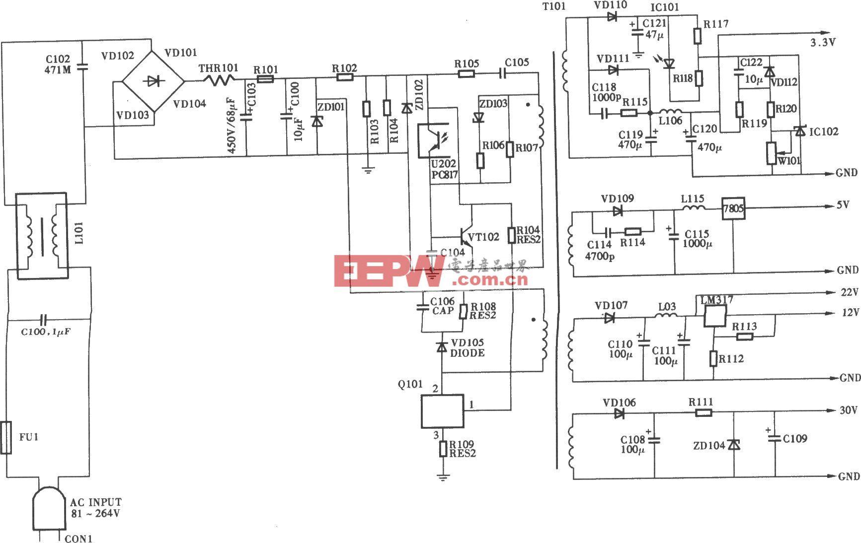 同洲CDVB2000B型数字卫星电视接收机电源电路