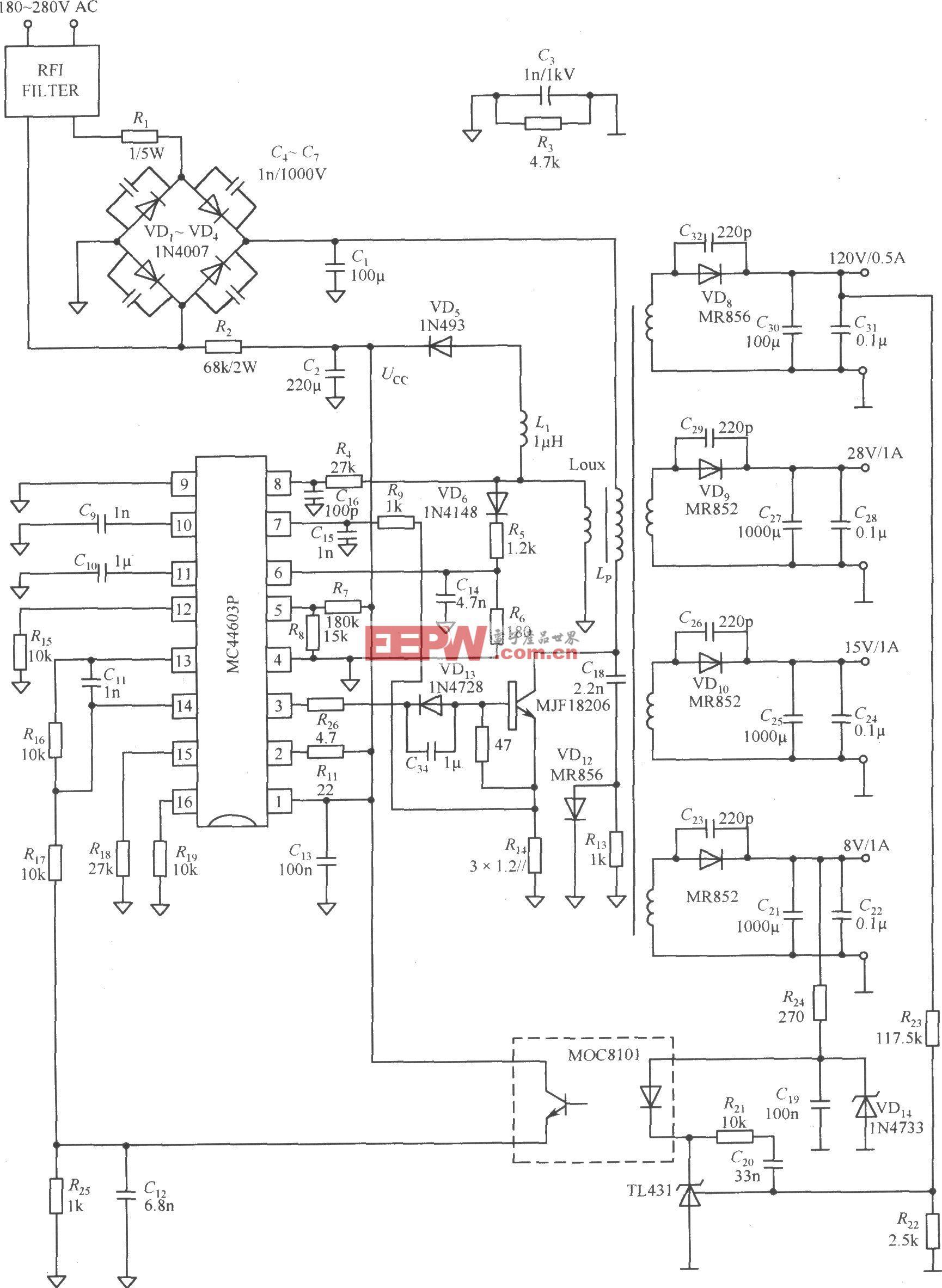由MC44603P构成的四输出电源电路