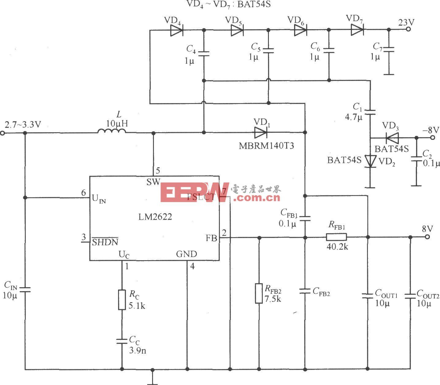 由LM2622构成的三输出开关电源电路