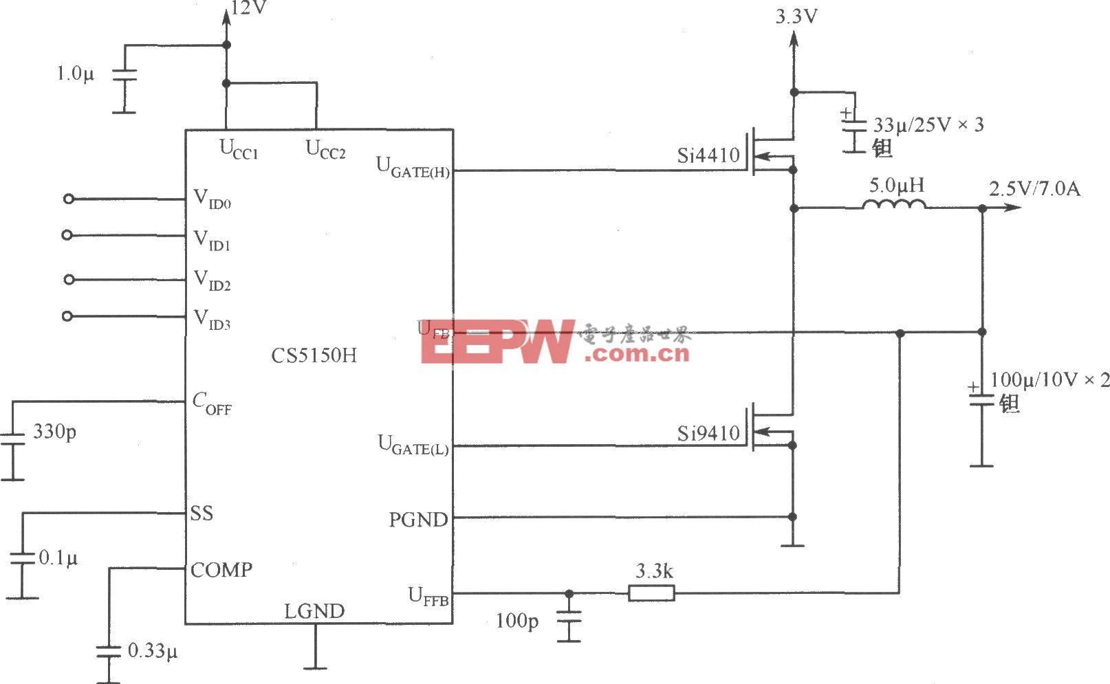 4位编码同步降压控制器CS5150H构成的有12V偏压3.3V至2.5V/7.0A变换器
