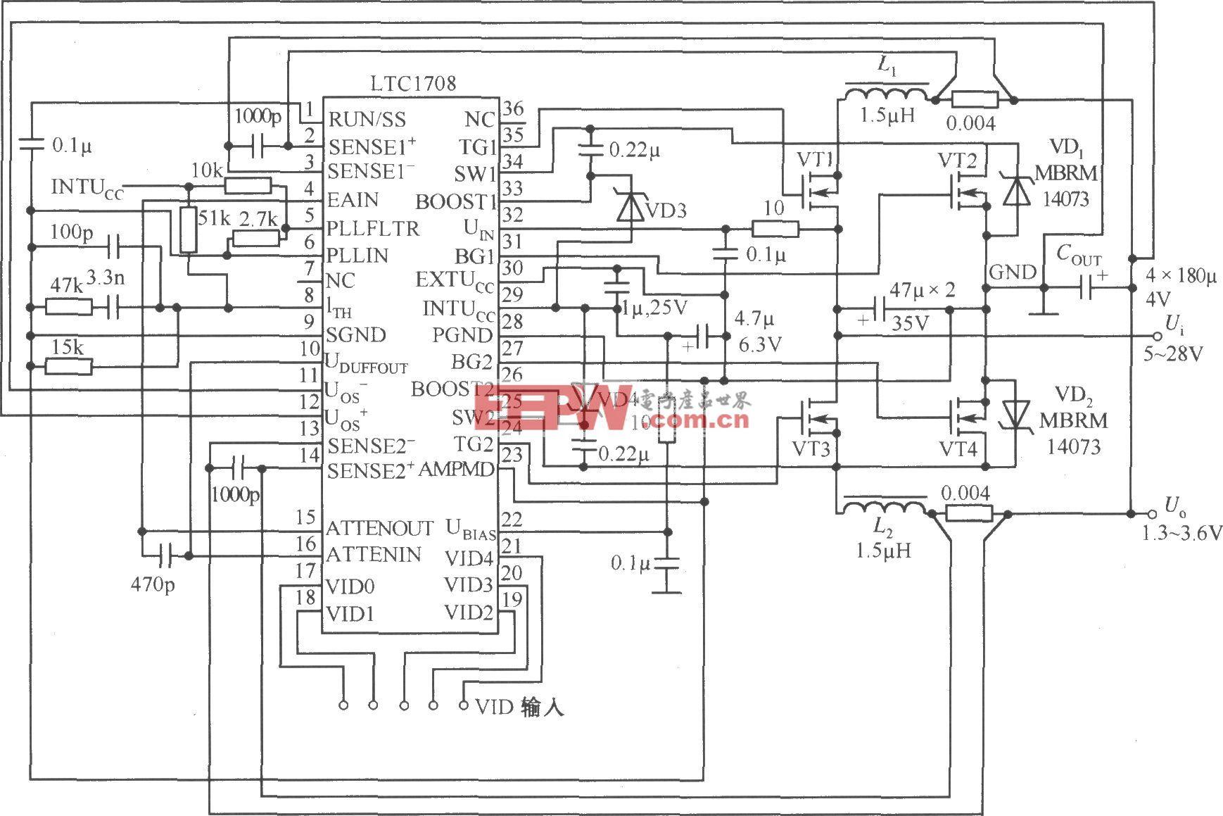 5V输入,1.3~3.5V/20A输出程控电源电路