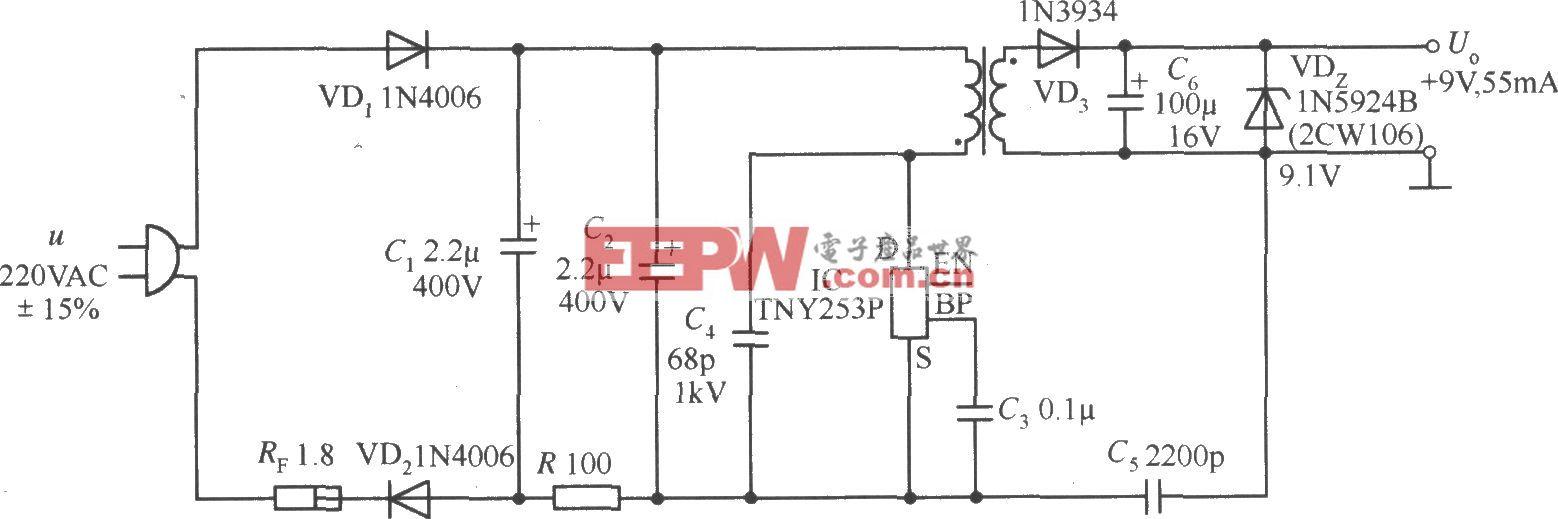 由TNY253P構成的9V、55mA AC/DC變換器電路