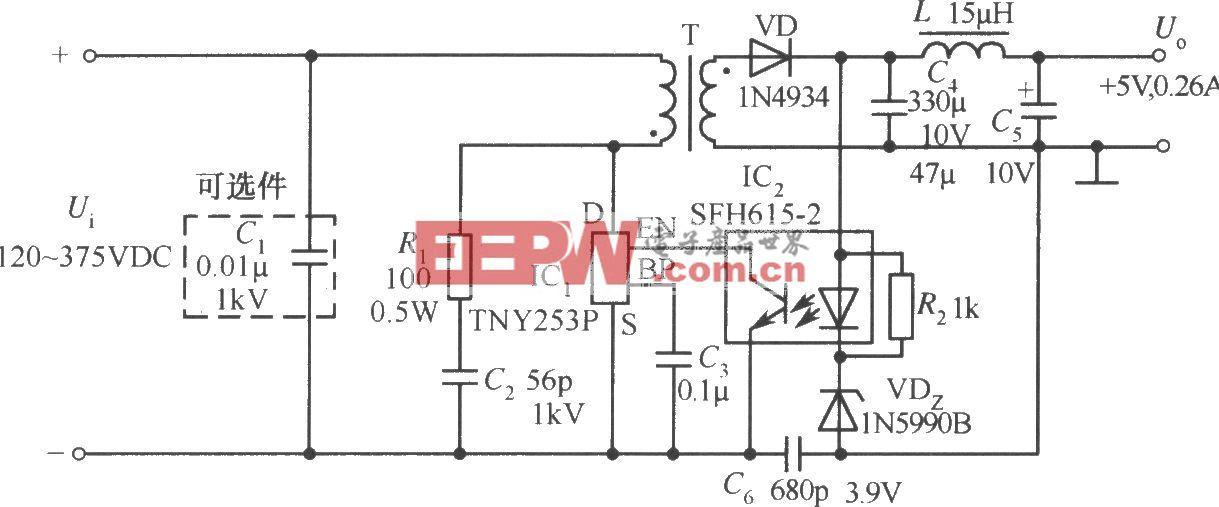 TNY253P构成的5V、0.26A彩电待机电源电路