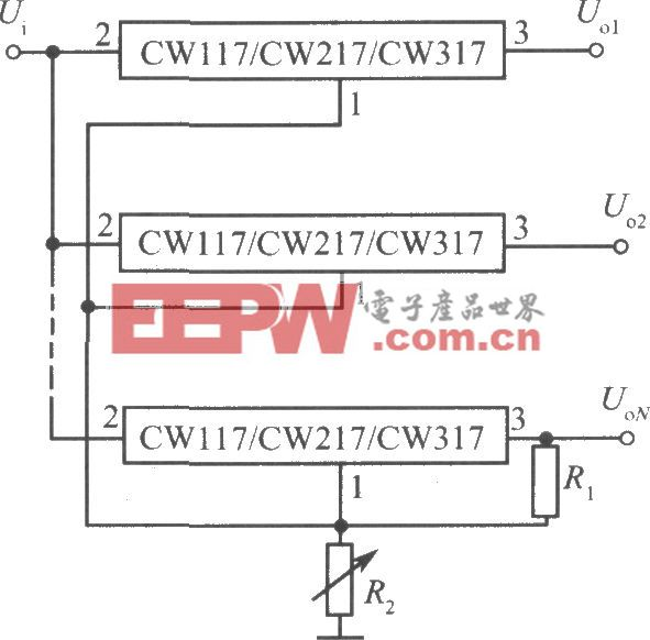 多个三端可调集成稳压器组成的多路集中控制稳压电源