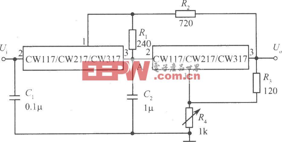 两只CW117/CW217/CW317构成跟踪式集成稳压电源