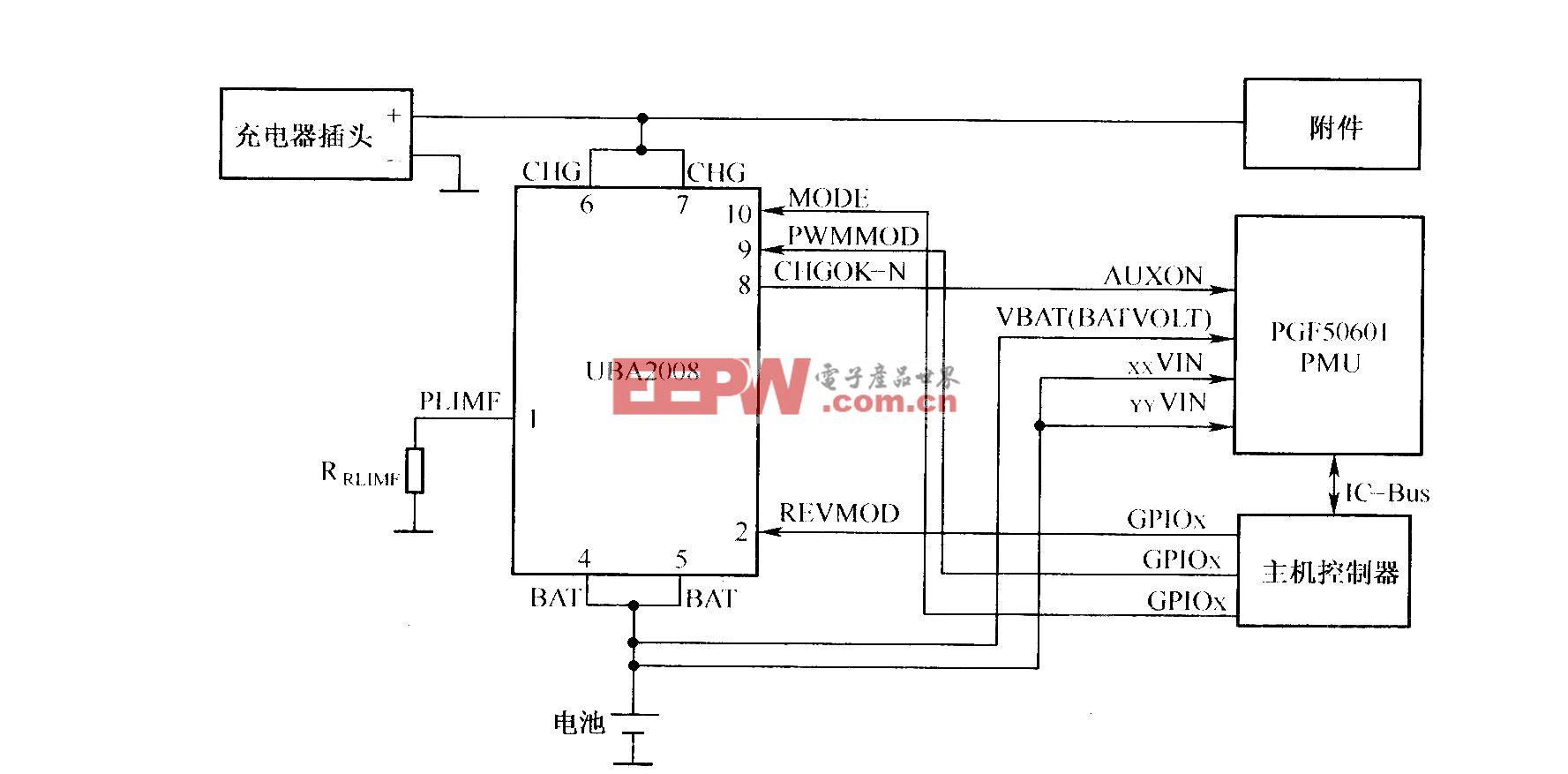采用UBA2008充电开关芯片构成的充电电路