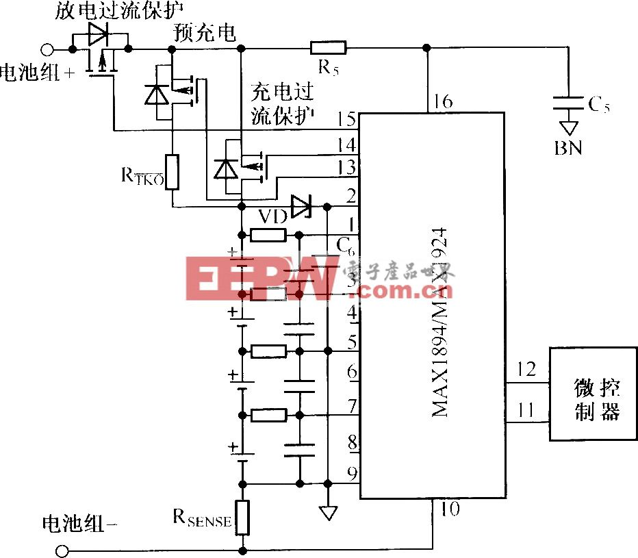 利用MAX1894/MAX1924组成的具有预充电功能的典型应用电路