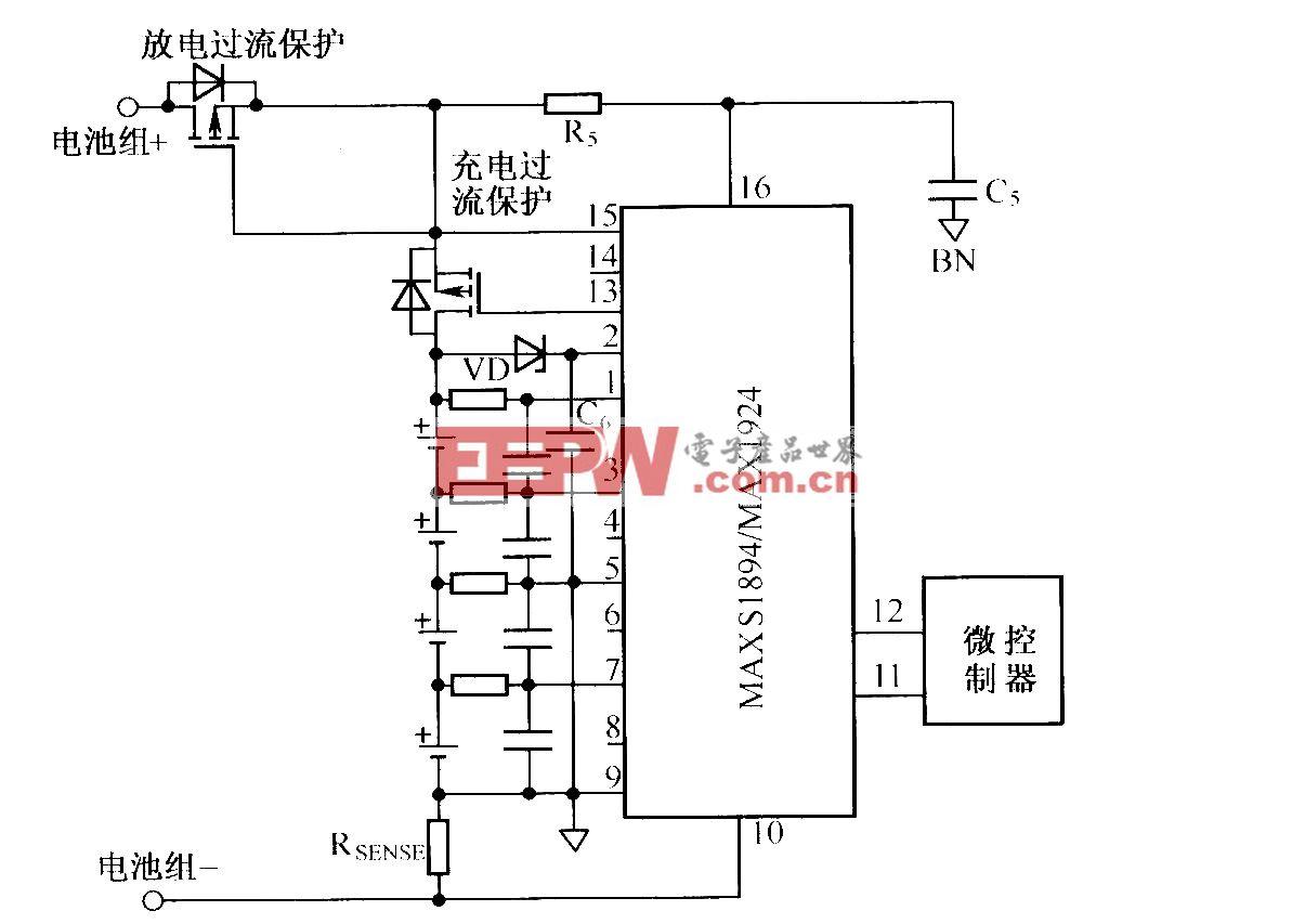 利用MAX1894/MAX1924组成的没有预充电功能的典型应用电路