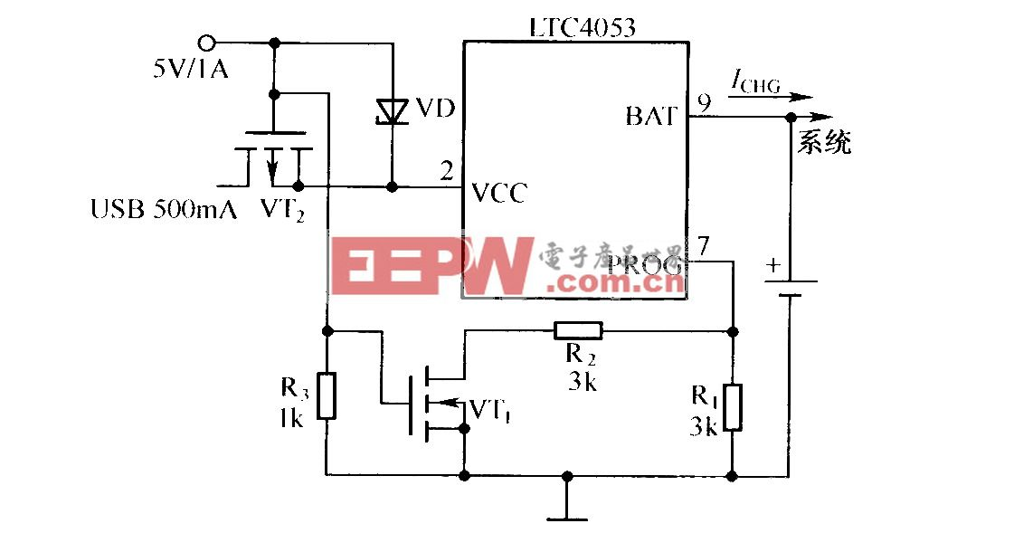 USB端口及墙上适配器供电的充电器原理图(LTC053)