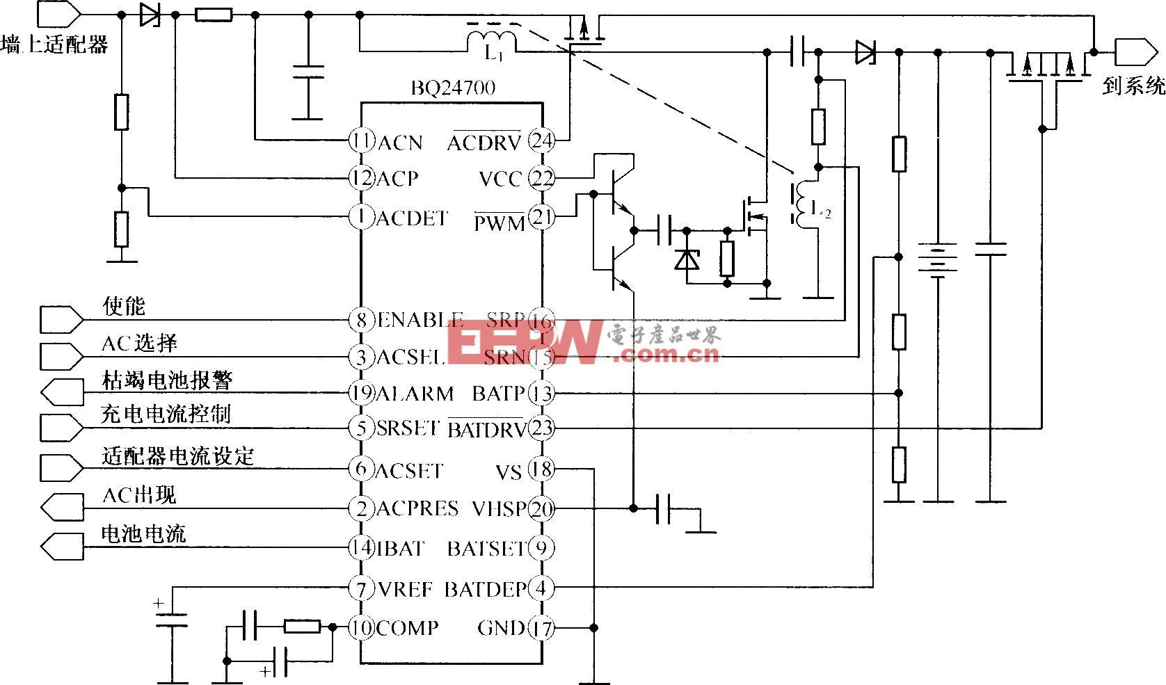 由BQ24007组成的单端初级电感变换器的拓扑结构