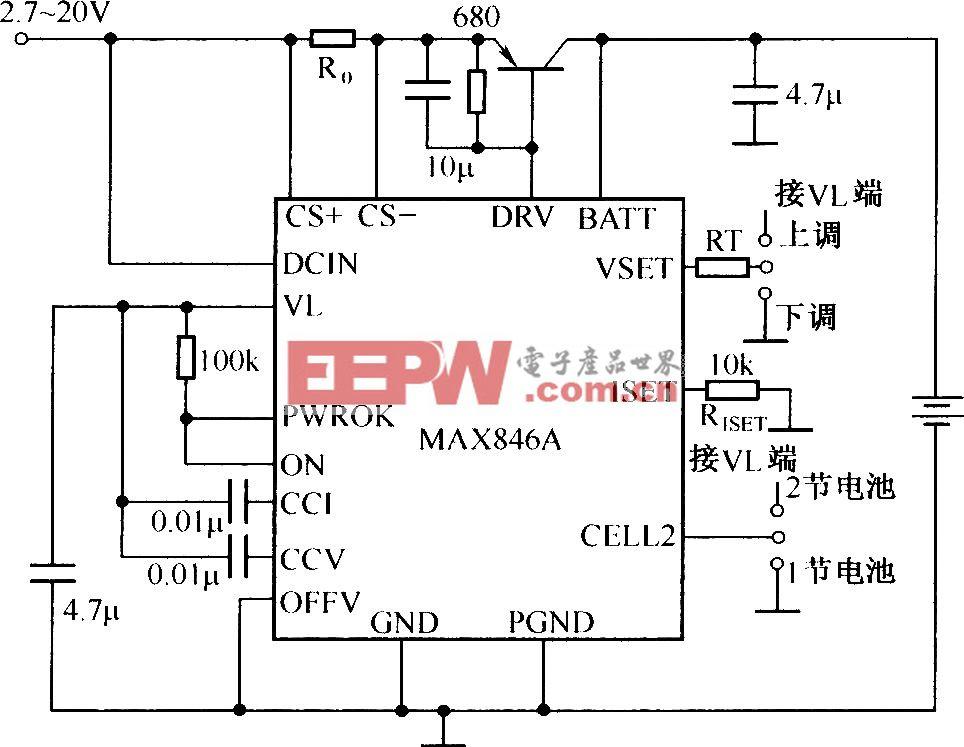 由MAX846A构成的实用锂离子电池充电器电路