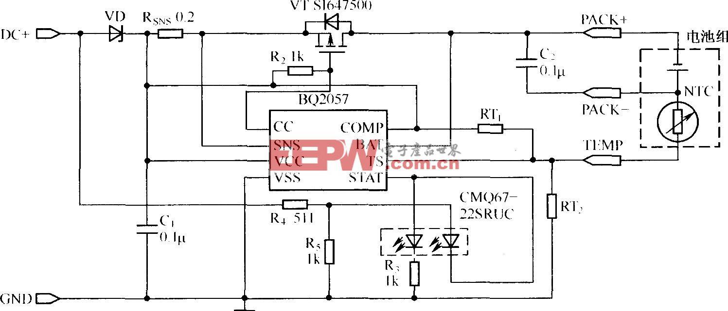 采用P沟道MOSFET设计的BQ2057充电器电路