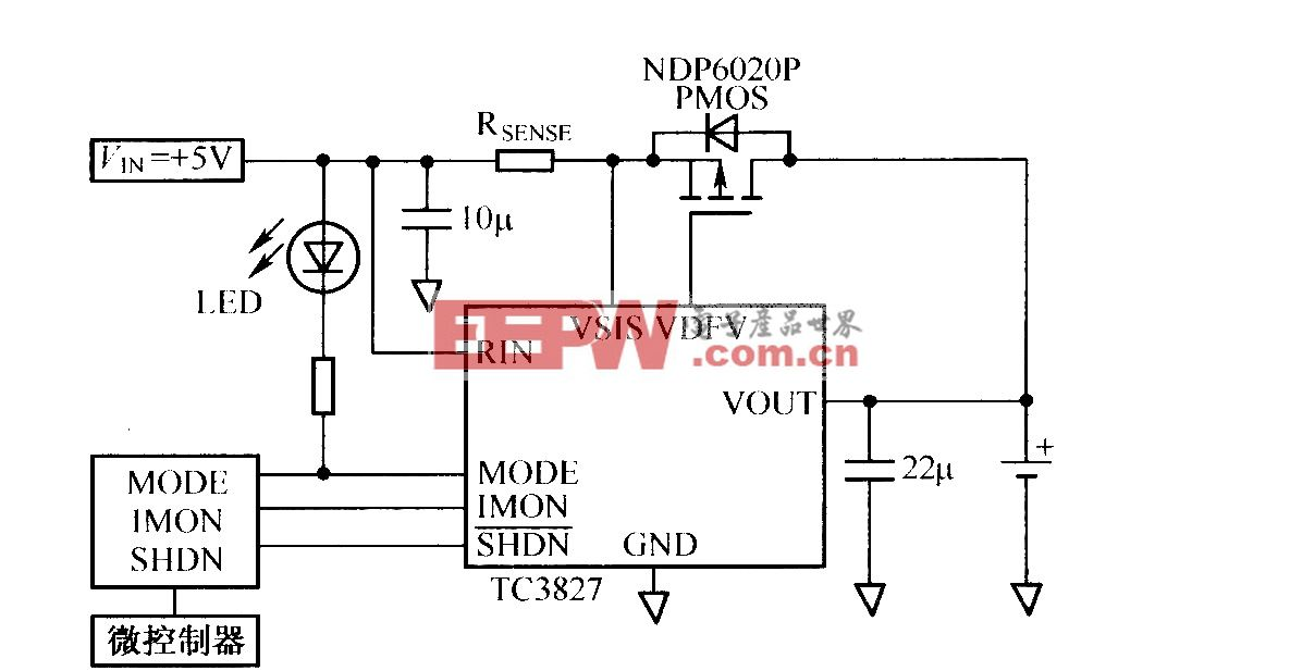 TC3827充电控制器IC与μC结合的应用电路