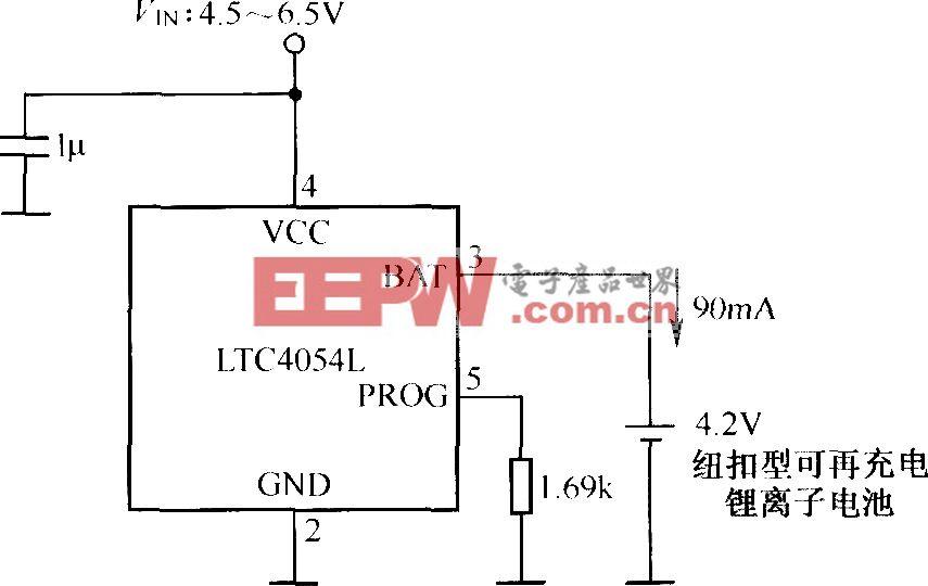 纽扣型可再充电锂离子电池充电电路