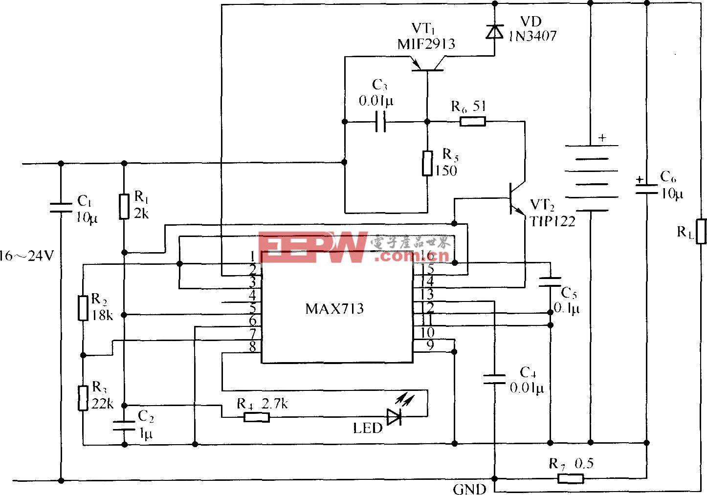 MAX713在线性模式下的应用电路