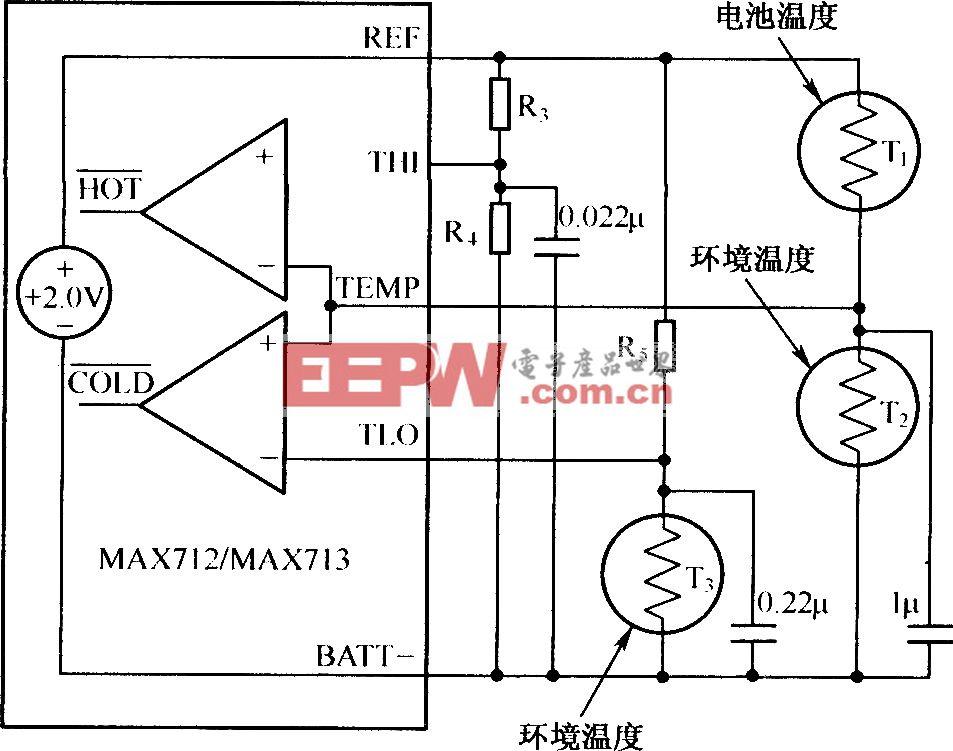 利用MAX712/MAX713的温度控制典型电路