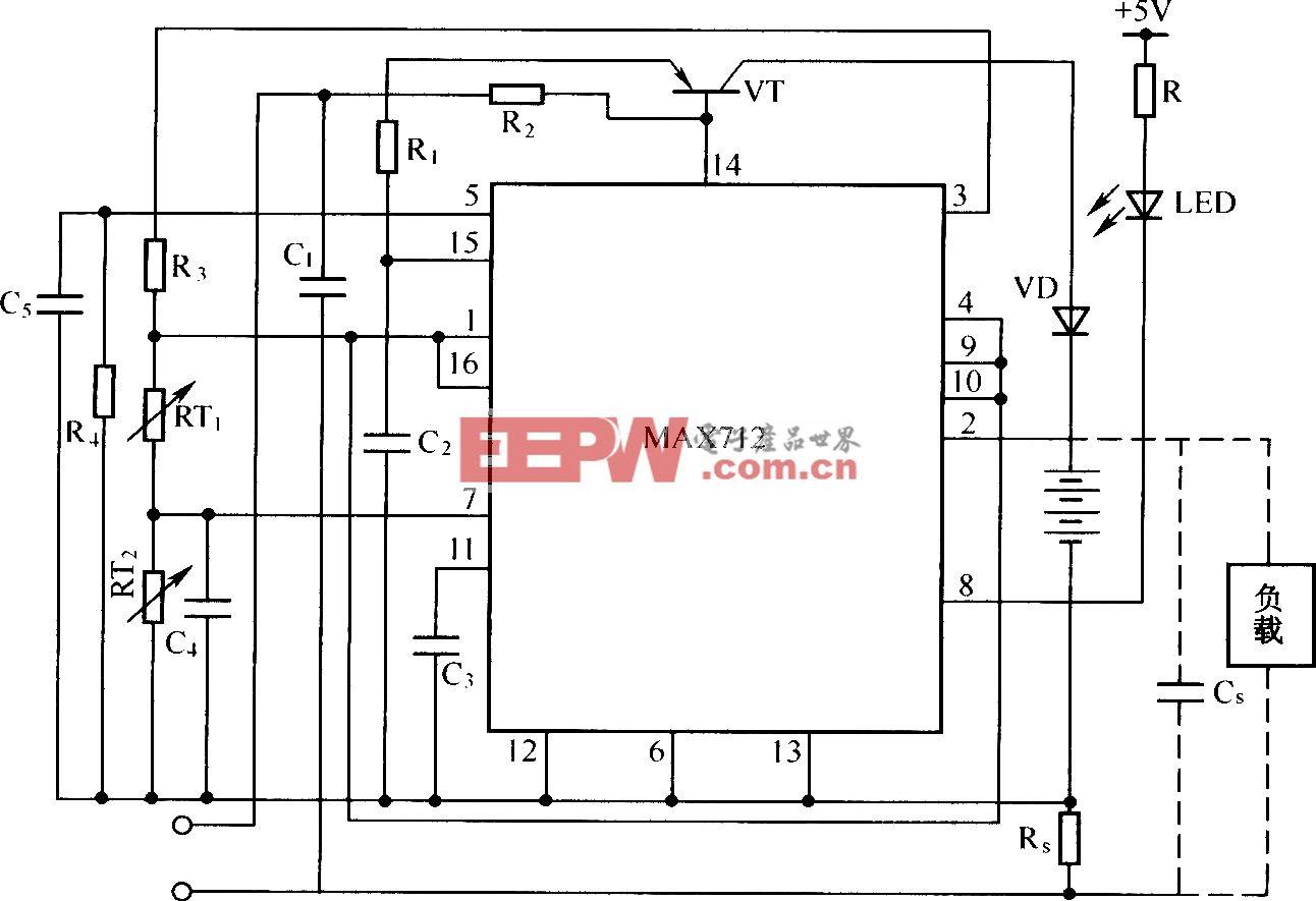 由MAX712构成的镍镉/镍氢电池快速充电器