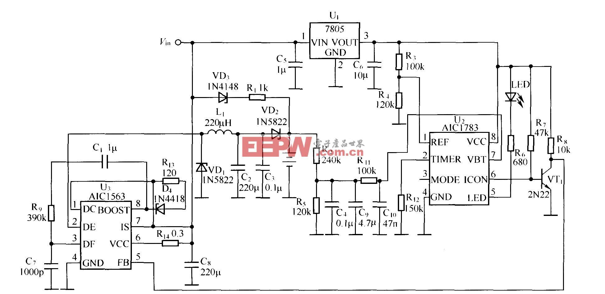 用AICl783作为控制器的镍氢,镍镉电池充电器电路