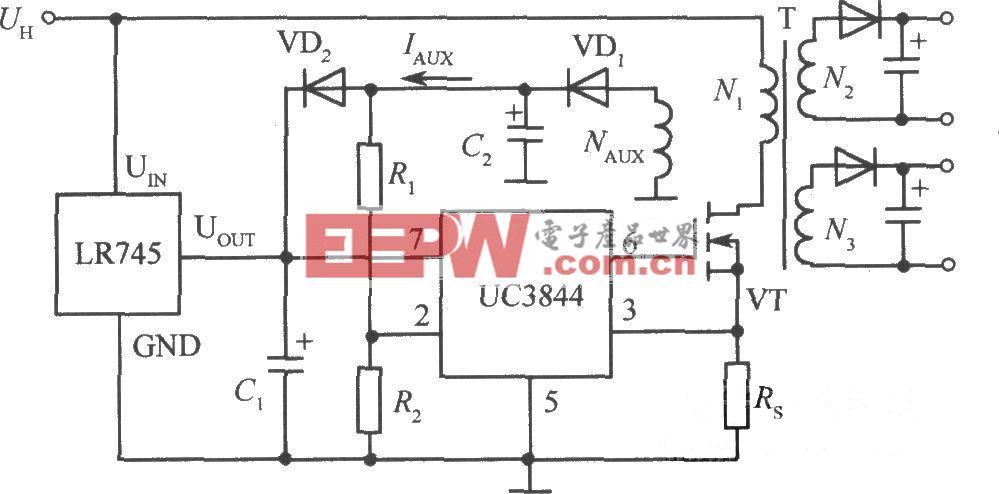 开关稳压电源启动电路集成芯4片LR745应用实例电路