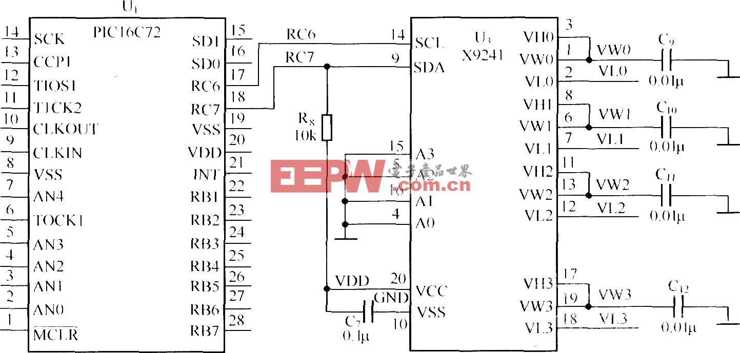 PIC16C72与X9241接口电路