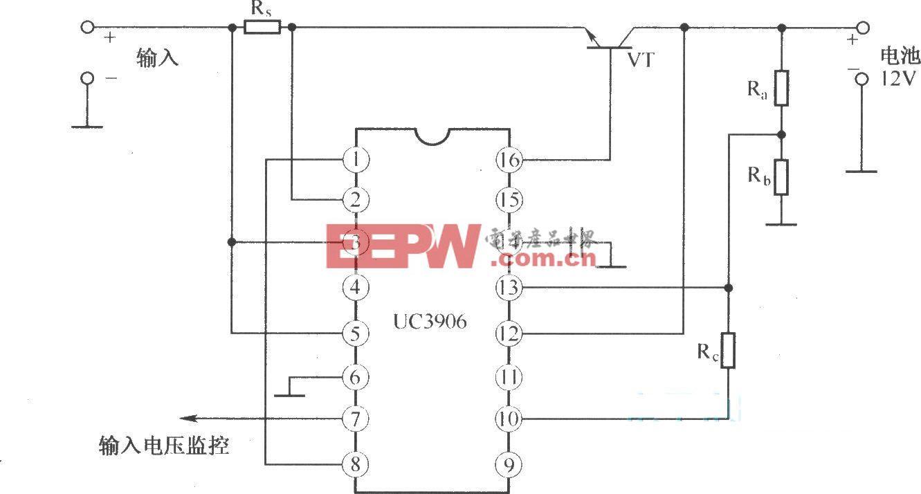 利用UC3906构成的双电平浮充充电器的基本电路