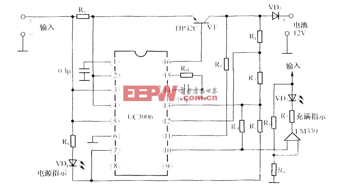 12V閥控密封鉛酸電池雙電平浮充充電器的電路圖 UC3960