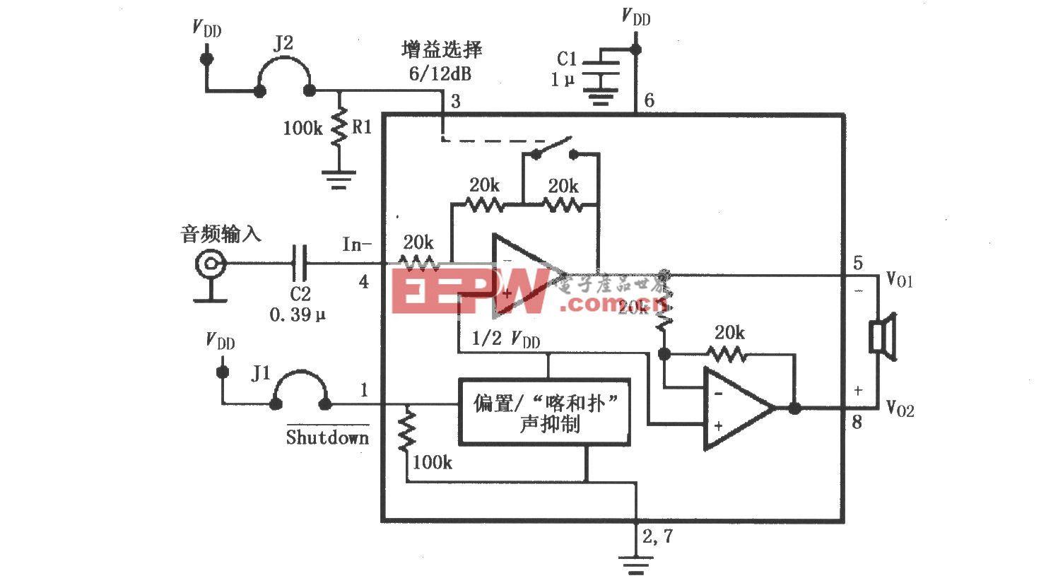 LM4906音频功率放大器的典型应用电路(MSOP封装)