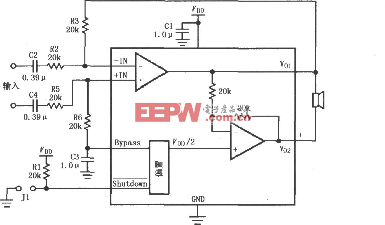 LM4903/4905差分输入音频放大电路