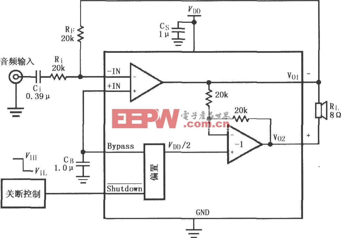 LM4903/4905音频功率放大器的典型应用电路(MSOP封装)