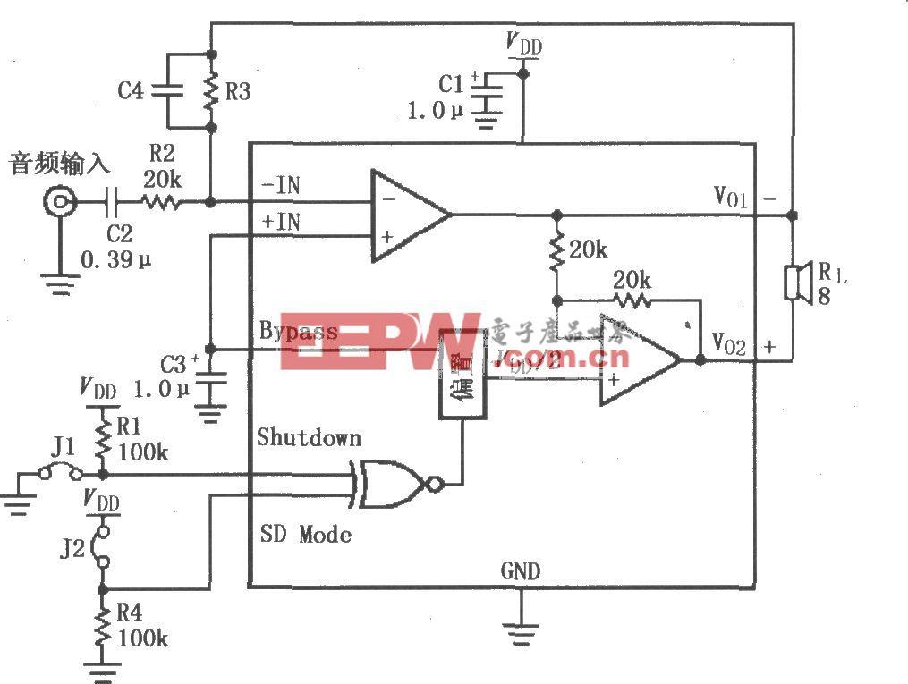 LM4901高增益音频放大电路