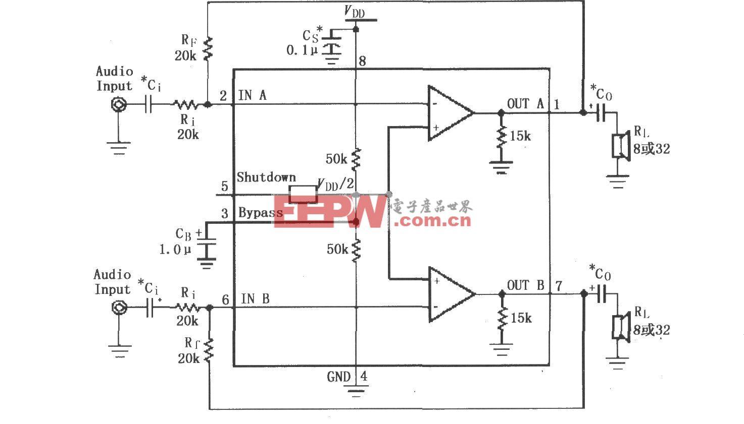 LM4880/4881用于双声道放大器的�典型电路