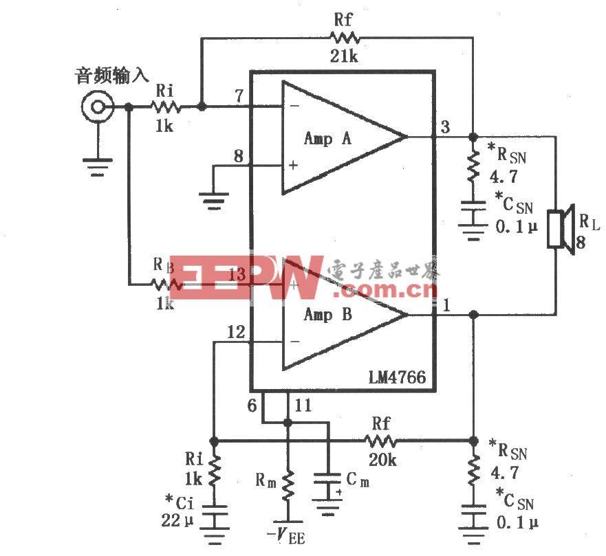 由LM4766构成的电桥输出音频功率放大电路