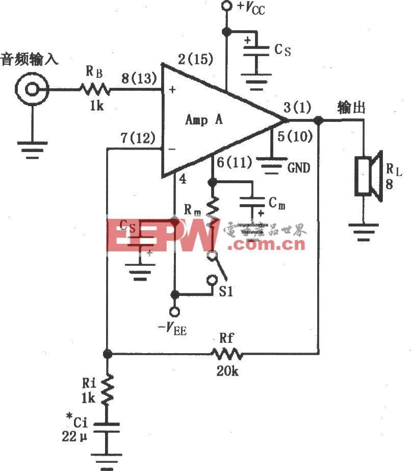 LM4766的双电源供电的音频功率放大电路