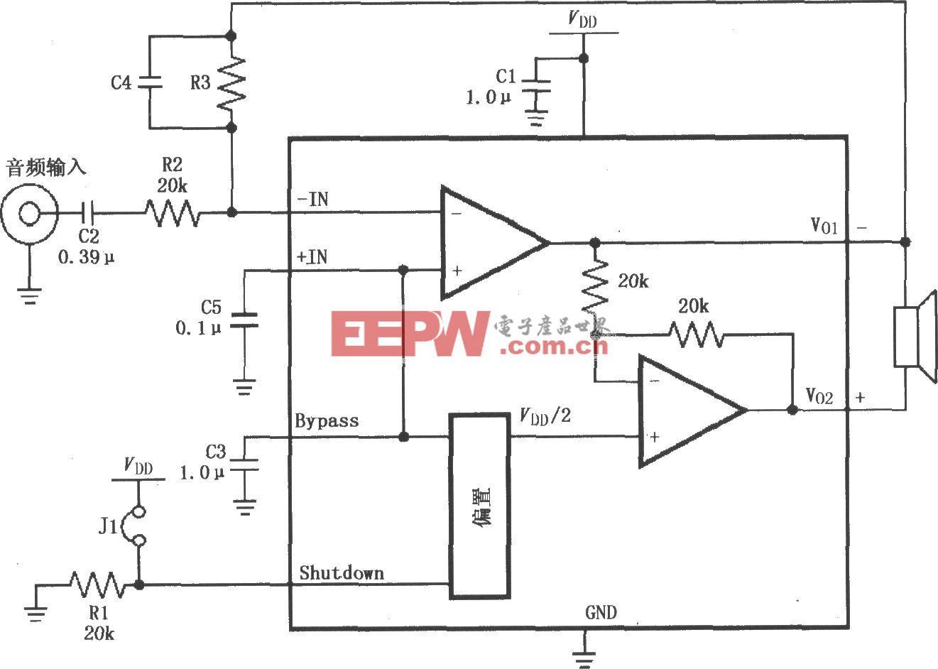 LM4818的高增益音频放大电路