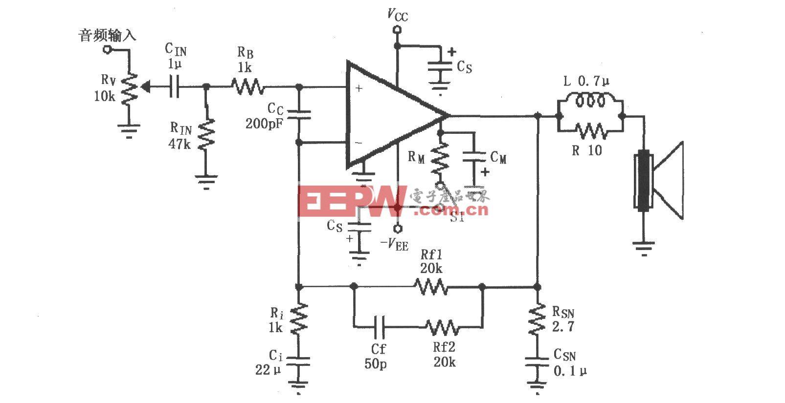 LM4732的辅助音频功率放大电路