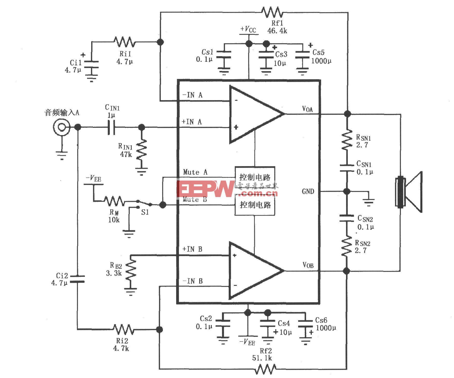 由LM4732内部两个放大器构成的电桥输出的音频功率放大电路