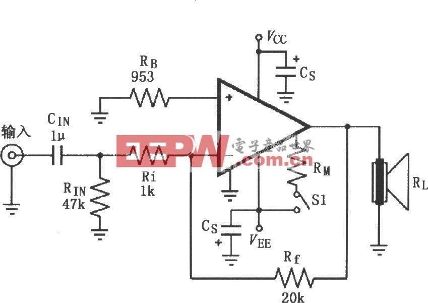 由LM4732构成的反相功率放大电路