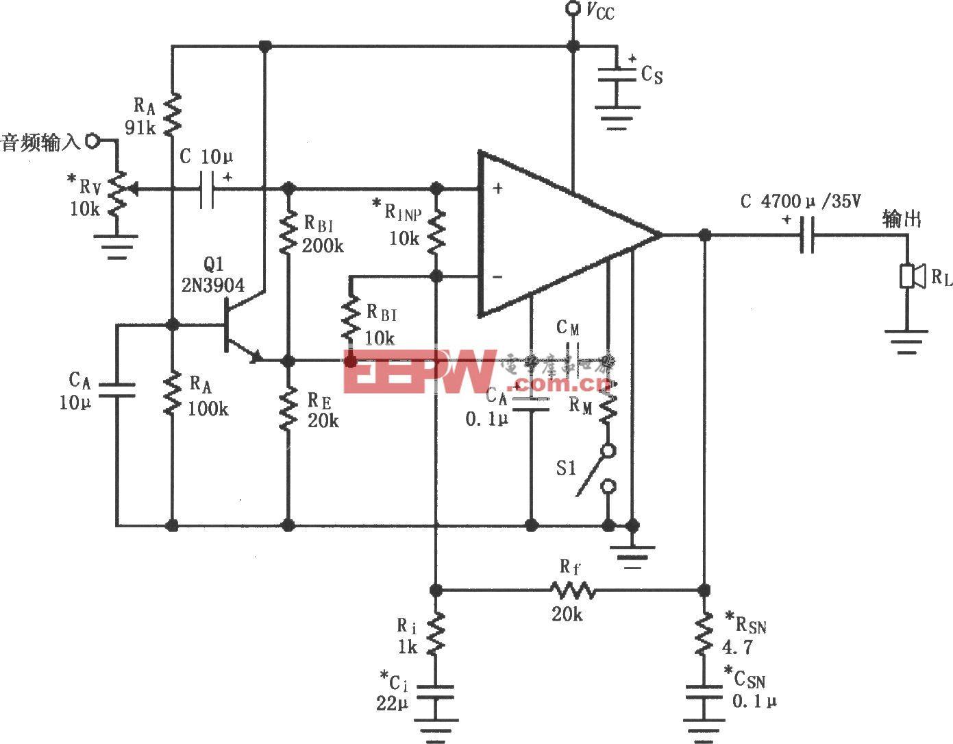 LM4732单电源供电的音频功率放大电路