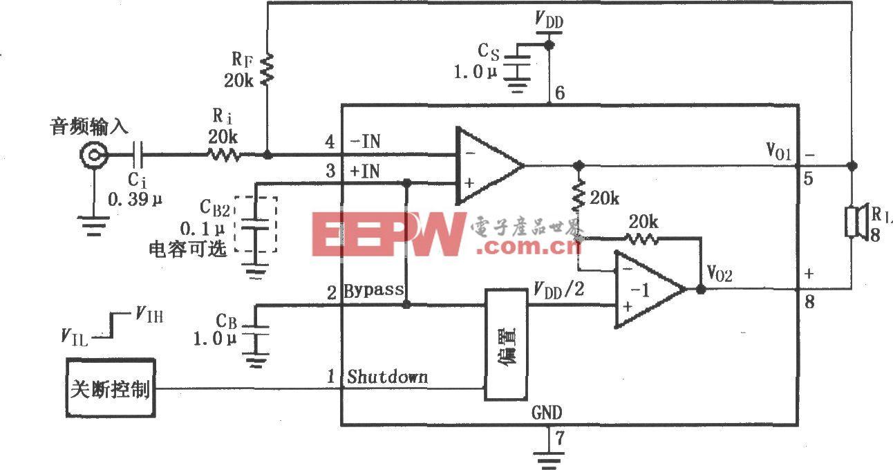 LM4818的音频功率放大电路