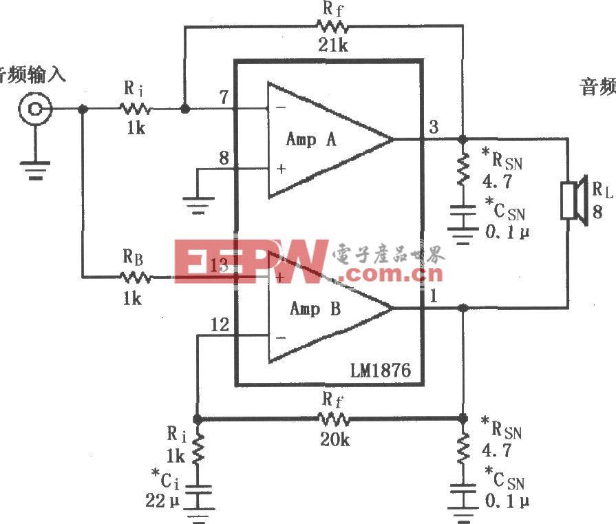 由LM4730/4731构成的电桥输出音频功率放大电路