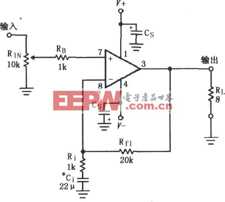 LM3875的双电源供电音频功率放大电路
