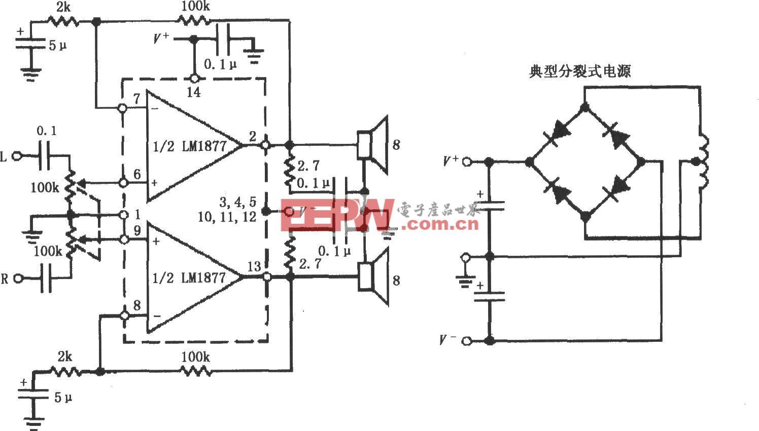 LM1877用分裂式电源供电的同相音频功率放大电路
