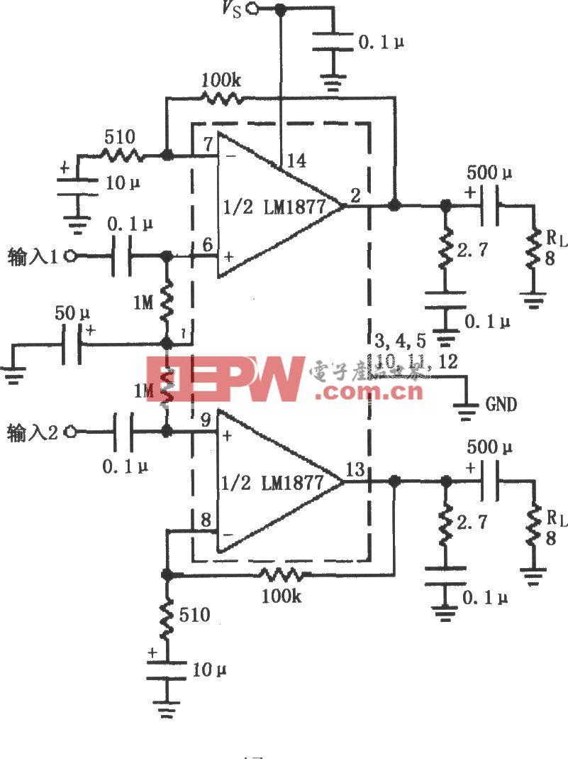 由LM1877构成的具有Av=200(增益)的立体声放大电路