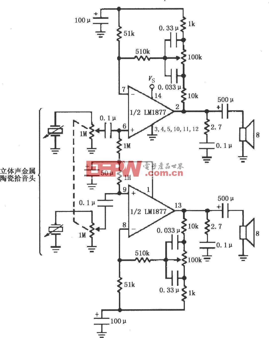 由LM1877构成的具有低音控制的立体声唱机放大电路