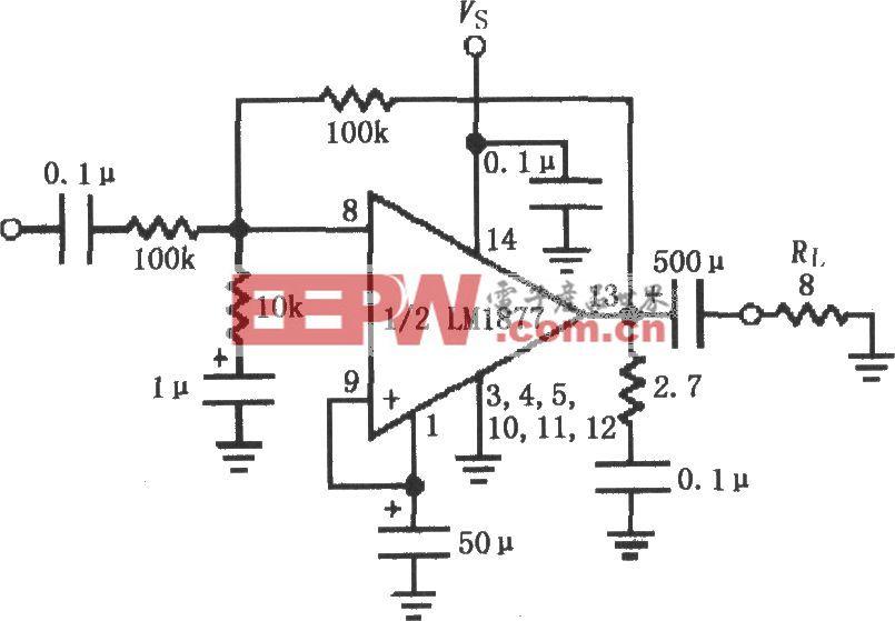 由LM1877构成的反相单位增益放大电路