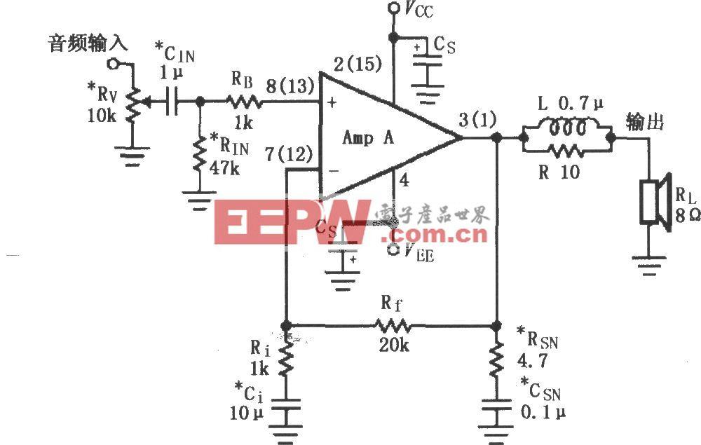 LMl876用于辅助音频功率放大电路