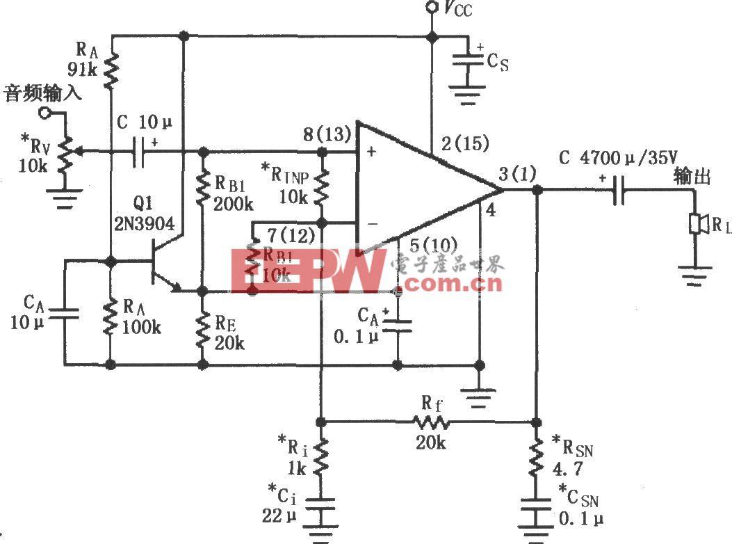 LM1876的单电源供电音频功率放大电路