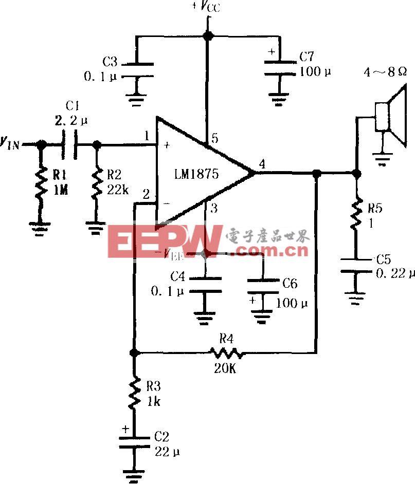 LM1875的双电源供电音频功率放大电路